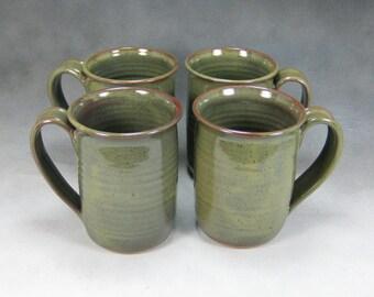 4 Coffee Mug Green 16 Ounce Ceramic Coffee Mug Set Hand Thrown Stoneware Pottery Mug 4