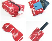 Travel Accessories Set - Passport Cover, Luggage Tag, Sleep Mask and Makeup Bag - Red Arrow