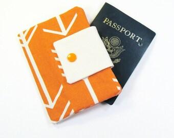 Travel Passport Holder / Passport Wallet / Passport Case - Orange Arrow