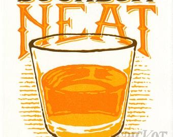 Bourbon Neat - Letterpress Art Print