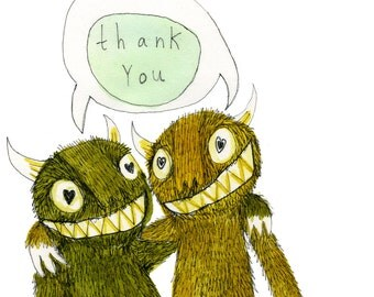 Square Greeting Card: Thank You Monster