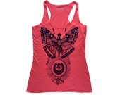 Vintage Moth Print on a Watermelon Tank