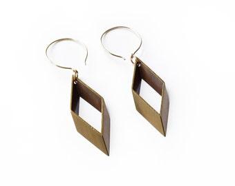 Open Brass Diamond Earring