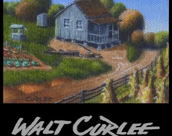Original ACEO, ATC, Country Homestead Landscape Fall Decor Oil Painting Folk Art Americana