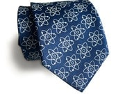 Atomic Necktie. Atoms print science tie: Nucleus, electron model. Molecular biology, nuclear medicine, atomic energy gift. 100% silk tie.