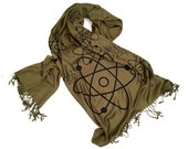 Atoms Scarf. Atomic print pashmina. Science scarf, nerdy gift. Science teacher, nuclear physics gift.
