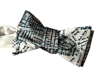New York City Map Print Bow Tie. Brooklyn, Manhattan subway lines and streets. Silkscreened self tie bow tie. Choose platinum and more!