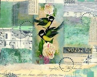 Collage painting, mixed media art, bird collage, paper and paint, home decor, inspirational art
