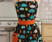 Apron Retro Style Owls on Black CHLOE Full Apron
