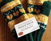 Green Bay Packer Mittens - Adult - hand knit - Green and Gold - fair isle pattern - wool or acrylic construction - prompt ship