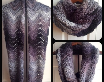 SALE! Black to Grey Ombre Wave Infinity Scarf