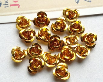 30 Gold metal rose beads 11mm metallic aluminium flowers #57b