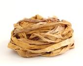 Handdyed recycled sari silk ribbon, 10metres Autumn Rose, sand brown, rose dust, textile arts, uk seller