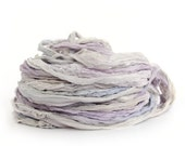 Handdyed chiffon silk ribbon recycled, 10metres, Fairy Dust lilac purple pale blue silver grey, textile arts
