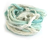 Recycled chiffon silk ribbon 10metres handdyed Waterworld, pale blue aqua ivory off white, Perran Yarns textile arts mixed media