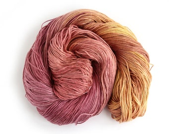 Handdyed silk seacell yarn, plum red gold 4ply variegated skein, luxury fingering knitting crochet yarn, Perran Yarns Sunset Party uk seller