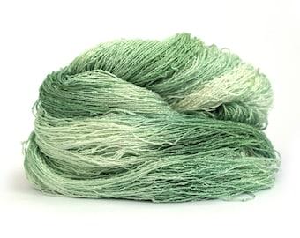 Green laceweight banana yarn, hand dyed vegan silk, natural fiber lace yarn, Sage Haze knitting crochet wool, uk seller, yarn skein