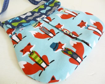 Smart Foxes Pleated Hipster Bag, Novelty Fun Fox Print Cotton purse, Foxes in Hats and Ties