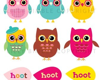 40% off OWL Clipart OWLS HOUSE, trees, cute, clip art images Instant Download