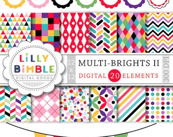 60% off MULTIBRIGHTS II confetti digital paper and clipart, scalloped frames, dots, chevron, red, green, purple Instant Download Lilly Bimbl