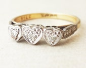 Art Deco Triple Heart Diamond Ring, 18 Carat Gold Platinum and Diamond Trilogy Engagement Ring, Approx Size US 6