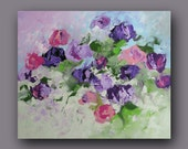 Floral Landscape Original Painting Canvas Art Wall Decor Abstract Art Impressionist Violet Pink Roses Acrylic Canvas Painting Linda Monfort