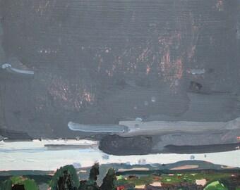October Evening, Original Plein Air Autumn Landscape Painting on Panel, Ready to Hang, Stooshinoff