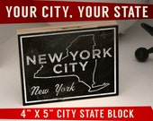 """Mens Personalized Gift-City Art Print- City Names Sign- Any City, Any State Art Box- 4"""" x 5""""- Husband Gift for Newlyweds- Custom State Decor"""