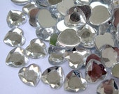 Acrylic Rhinestone Cabochon Beads, Faceted, Heart, Clear, 10mm, 50pcs