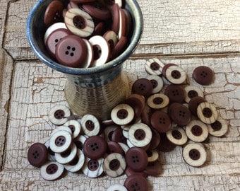 Vintage buttons/wine with grayish ridge/20 medium size
