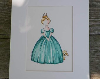 Girl Princess Aqua Dress Gold Crown Puppy Dog Watercolor Childrens Fashion Kids Art Original Painting Illustration Artist