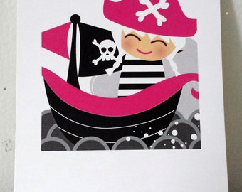 Little Pirate Girl 5x7 Art Print