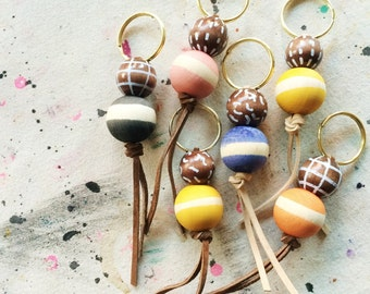 Hand Painted Leather and Wooden Bead Key Chain, Brass, Leather, Wood, Anna Joyce