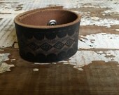 40% FLASH SALE- Custom Leather Cuff-Create Your Own-Tooled Leather-Word Cuff
