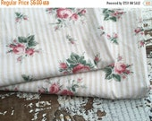 40% FLASH SALE- Rose Floral Fabric-Cottage Roses-Reclaimed Bed Linen Fabric-