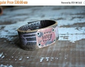 40% OFF FLASH SALE- Stamped Leather Cuff-Hope-Word Cuff-Personal Gift