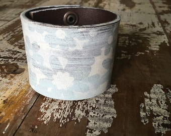 35% OFF CRAZY SALE- Custom Leather Cuff-Create Your Own-Word Cuff-Hand Painted-Floral Design