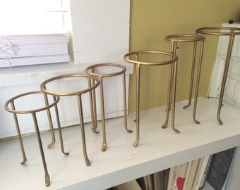 Set of SIX Graduated Stand Holders / Ball Bowl Sphere / Wedding Display / Matte Gold Metal Iron