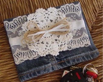 small purse hand bag jeans leg crocheted lace denim blue jeans