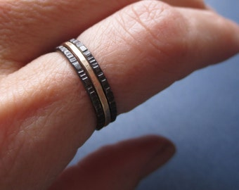 Black and Gold - Tiny Stoneless Stackers - Set of 2 Sterling Silver Stacking Rings and 1 Gold-Fill Stacker