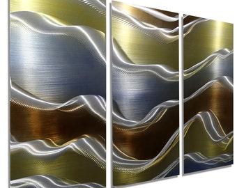 NEW! Gold, Brown and Blue Modern Metal Wall Painting - Contemporary Metal Wall Art - Home Decor - Accent - Avalanche 3 by Jon Allen