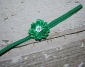 green baby headband, shabby chic, toddler girl, baby girl, baby turban, head wrap, classy baby, flower girl, newborn headband, flower, rose