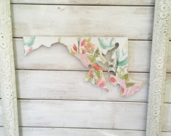 Maryland Sign. Maryland Home Sign. Maryland. Maryland Decor. Maryland Gift. Maryland Map. housewarming gift. Watercolor Flowers