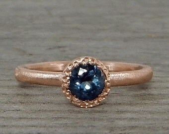 Sapphire & Rose Gold Ring - Fair Trade Gemstone with Recycled 14k Rose Gold - Engagement, Conflict Free, Eco-Friendly, Ethical, Made 2 Order