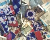 Mosaic Tiles Mix Broken Plate Art Hand Cut Pieces Supply Porcelain Red Blue Vintage Retro 100