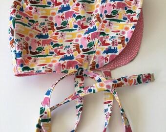 BABY BONNET - Tiny Zoo - Reversible - Classic Vintage Inspired - Sun Bonnet Girl - Spring Bonnet - Size Large - Ready to Ship - OOAK