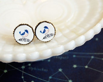 blue bird wooden framed post earrings - feather- aged brass