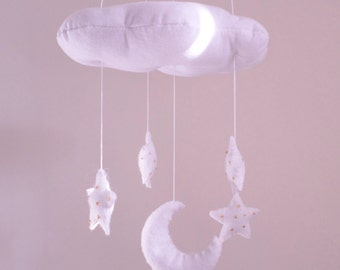 Cloud moon and stars nursery mobile - gender neutral - white and gold