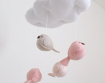 Baby mobile - nursery decoration - cloud and birds in peach and pink