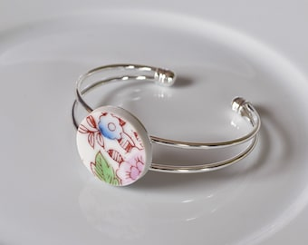 Recycled China Cuff Bracelet - Purple Green and Blue Floral